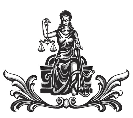 justice scales: Femida - lady justice,  graphic vector illustration