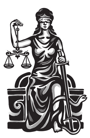 justice balance: Femida - lady justice,  graphic vector illustration