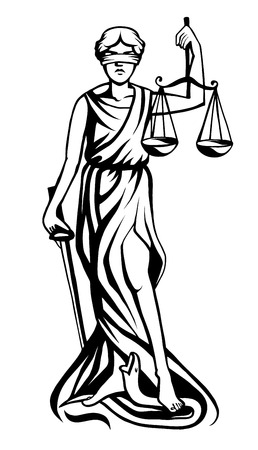 roman mythology: Femida - lady justice,  graphic vector illustration