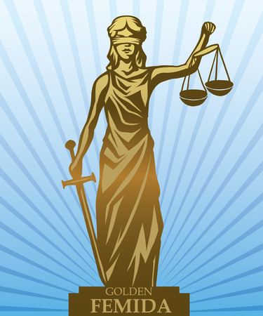 roman blind: Femida - lady justice,  graphic vector illustration