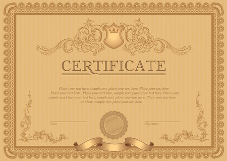 Certificate or coupon template with vintage border Иллюстрация