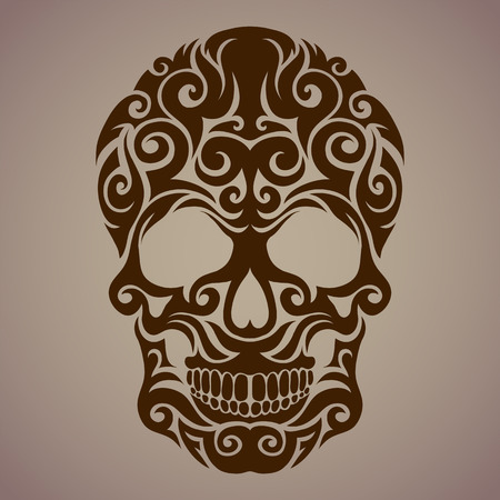 flower on head: The ornamental art of a skull, possible for use as a tattoo. Vector image. Illustration