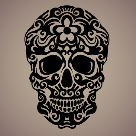 voodoo: The ornamental art of a skull, possible for use as a tattoo. Vector image. Illustration