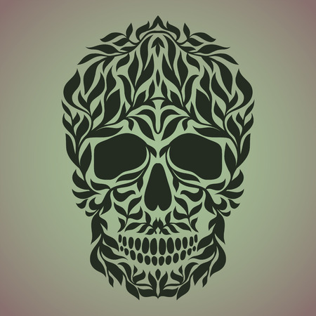 all saint day: The ornamental art of a skull, possible for use as a tattoo. Vector image. Illustration