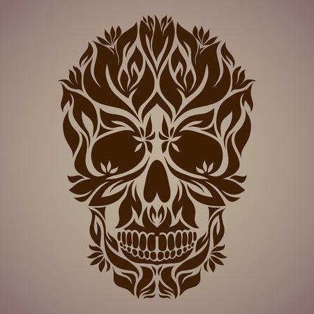 De decoratieve kunst van een schedel, mogelijk gebruik als een tatoeage. Vector afbeelding.