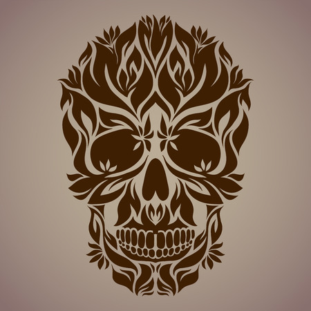 folk festival: The ornamental art of a skull, possible for use as a tattoo. Vector image. Illustration