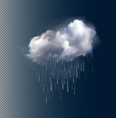 Zeer realistisch vector wolken en regen, het mogelijk om de grootte te veranderen. Stock Illustratie