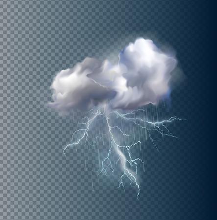 Zeer realistische vector wolk en bliksemen, mogelijk om de grootte te veranderen. Stock Illustratie