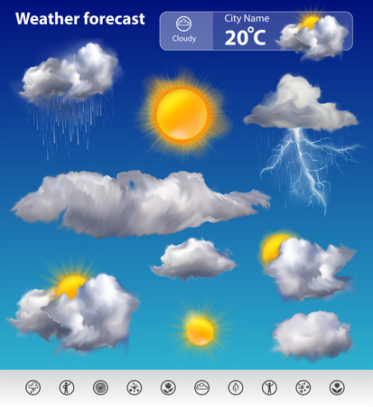 widget: Realistic weather forecast widget mobile application program layout template vector illustration