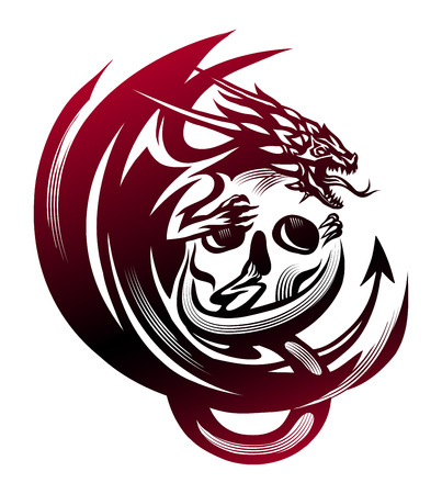 Graphic vector illustration of the dragon sitting on a skull.