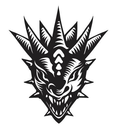 Grafische vector illustratie van de drakenkop.