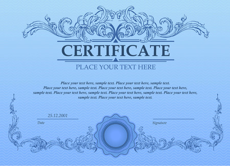Certificate or coupon template with vintage border Ilustrace