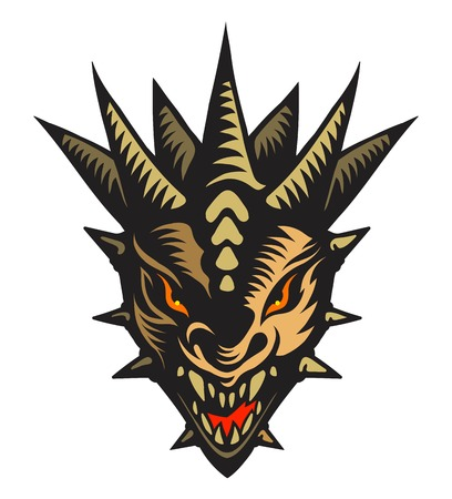 tribal dragon: Graphic vector illustration of the dragons head. Illustration