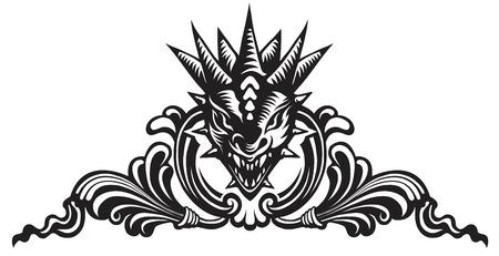 Grafische vector illustratie van de drakenkop in sierlijke schild. Stock Illustratie