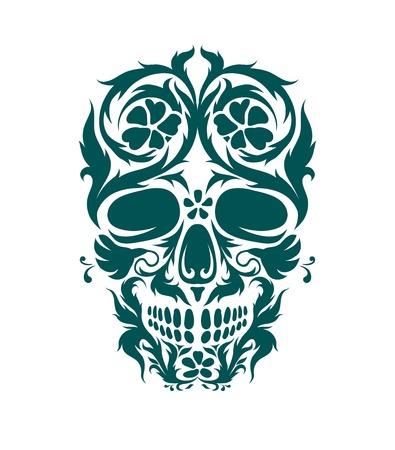 morte: The ornamental art of a skull, possible for use as a tattoo. Vector image. Ilustração