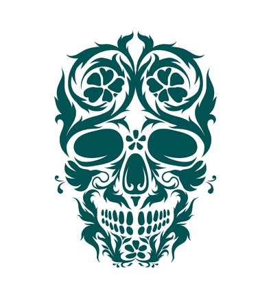 folk art: The ornamental art of a skull, possible for use as a tattoo. Vector image. Illustration