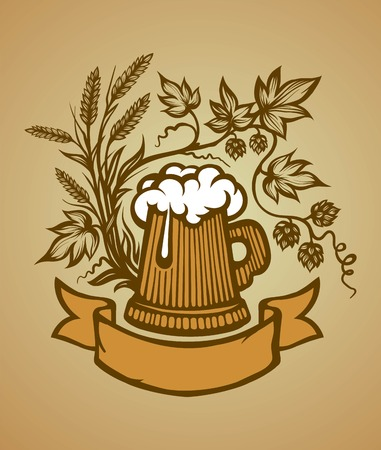 mug: Wooden beer mug with the foam, graphic representation for any design