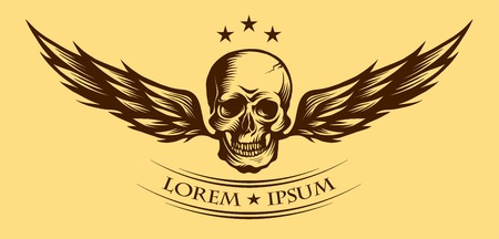 deaths: Human skull with wings for tattoo design or lable.