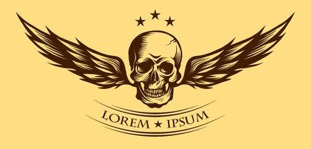 Menselijke schedel met vleugels voor tattoo ontwerpen of etiket.