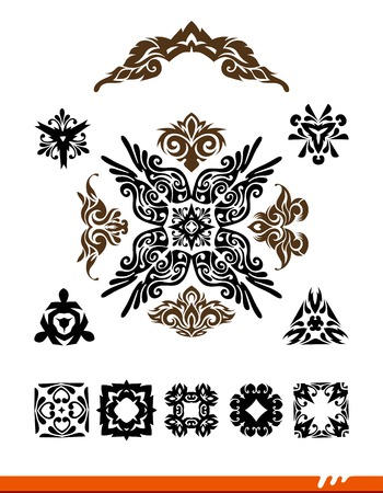 decoration elements: Floral vector design elements and page decoration.