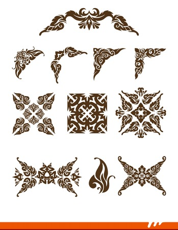 page decoration: Floral vector design elements and page decoration.