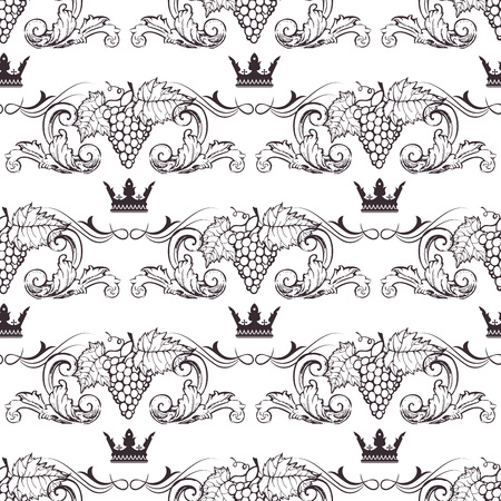 british army: Seamless texture with vintage floral elements and grapevine. Vector pattern
