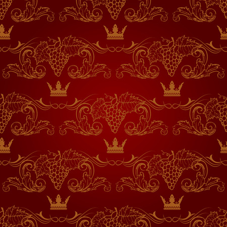 doubledecker: Seamless texture with vintage floral elements and grapevine. Vector pattern