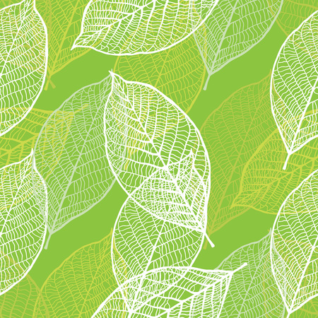 green flowers: Seamless texture with vintage ornamental leaves. Vector pattern