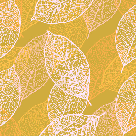 autmn: Seamless texture with vintage ornamental leaves. Vector pattern