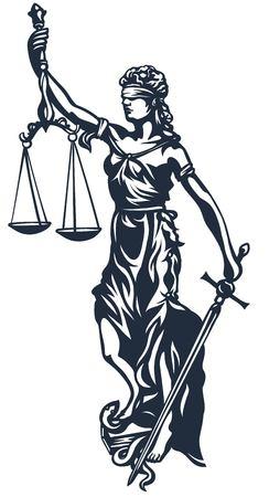 dama de la justicia: Femida - diosa justicia de la señora, ilustración vectorial estilizada