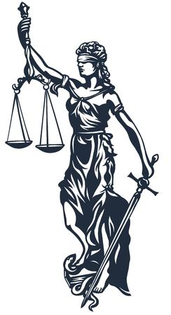 attorney scale: Femida -  goddess lady justice, stylized vector illustration