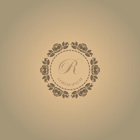 Calligraphic elegant floral monogram design templates for one or two letters. Illustration