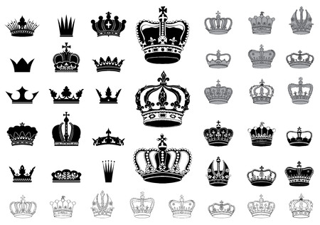 queen silhouette: Set of 40 detailed crowns isolated on white background Illustration