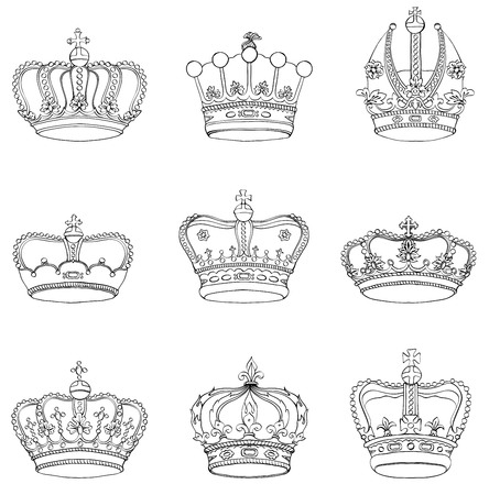 coronation: Set of 9 detailed crowns isolated on white background Illustration