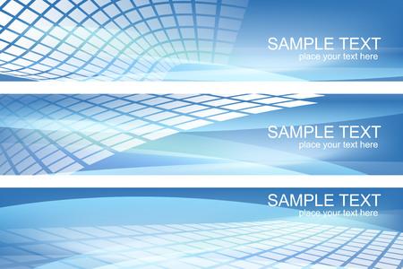 Set of blue Hi-tech backgrounds Ilustração