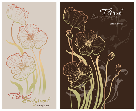 Elegance pattern with poppy, floral illustration in vintage style
