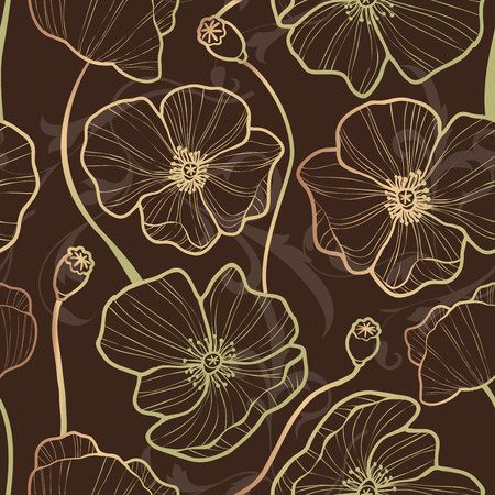 Elegance Seamless pattern with poppy, floral illustration in vintage style