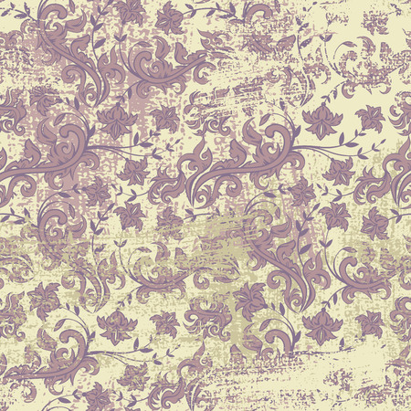 Naadloze bloemen grunge achtergrond, bloemen illustratie in vintage stijl Stock Illustratie