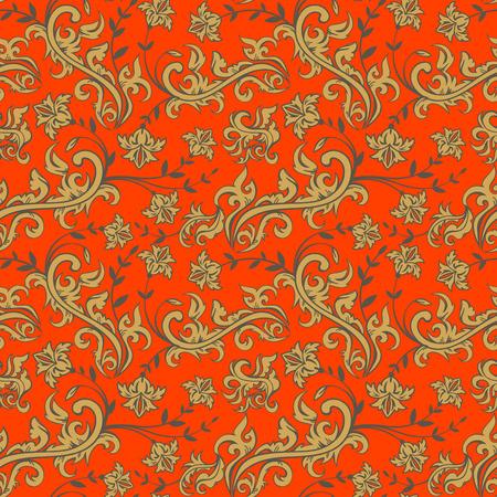 Naadloze achtergrond van bloemen, bloemen illustratie in Russische stijl Stock Illustratie