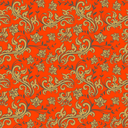 Seamless floral background, floral illustration in russian style Ilustrace