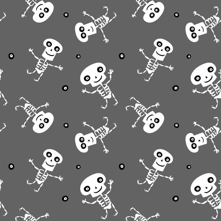 Seamless background with cute dancing cartoon Skeletons