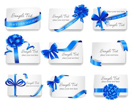 Set van mooie kaarten met blauwe geschenk strikken met linten. Stock Illustratie