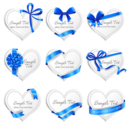 Set of beautiful heart-shaped cards with blue gift bows with ribbons. Ilustrace
