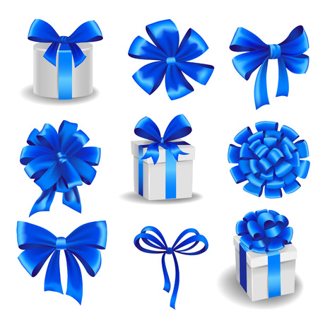 Set of blue gift bows with ribbons.