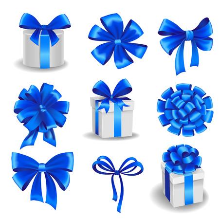 Set van blauwe giftbogen met linten. Stock Illustratie
