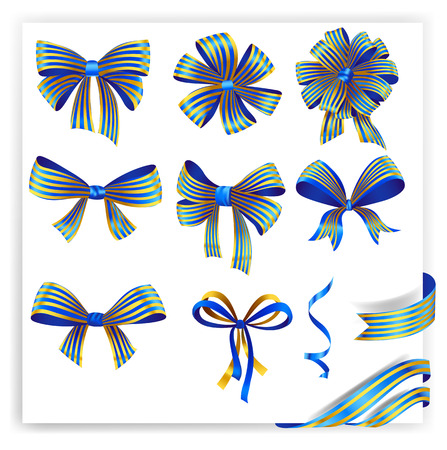 Set of blue and gold gift bows with ribbons.