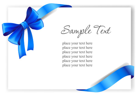 Greeting card with a blue ribbon.