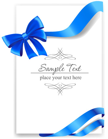 blue ribbon: Greeting card with a blue ribbon.