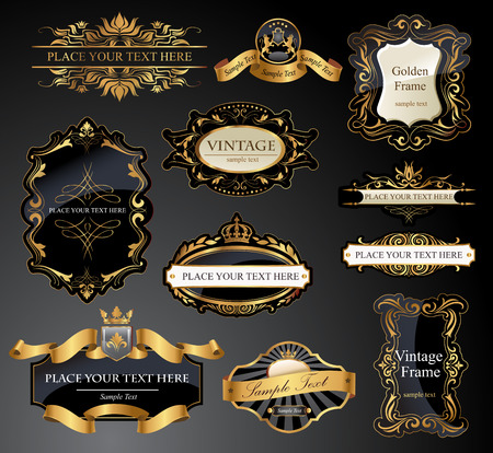 Vector frames and ornamental labels set. Easy to scale and edit. All pieces are separated.