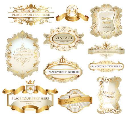 Vector frames and ornamental labels set in white and gold. Easy to scale and edit.